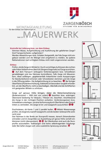 stahlzargen einbauanleitung f r mauerwerk. Black Bedroom Furniture Sets. Home Design Ideas