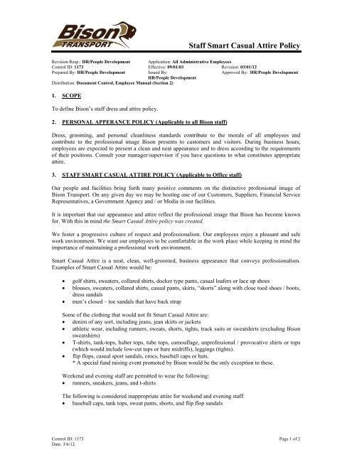 Staff Smart Casual Attire Policy Bison Transport