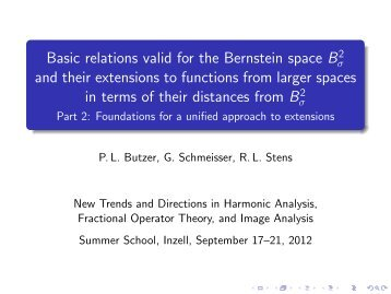 Basic relations valid for the Bernstein space B2 and their extensions ...