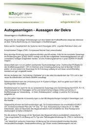 Autogasanlagen - Aussagen der Dekra