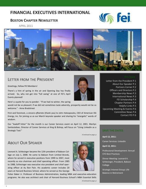 April 2011 Newsletter - Financial Executives International