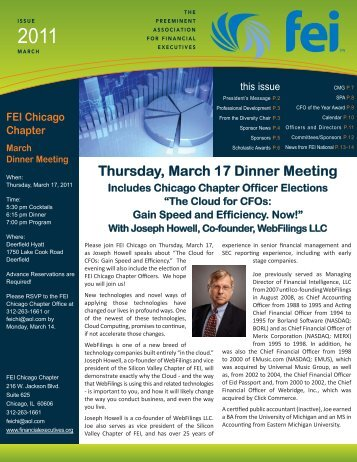 FEI Newsletter March 2011.indd - Financial Executives International