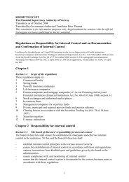 Regulations on Responsibility for Internal Control ... - Finanstilsynet
