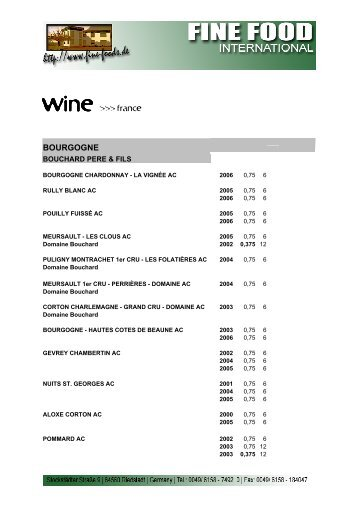 wine fra - Fine Food International