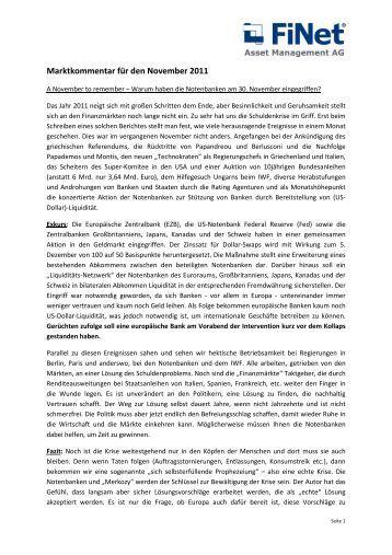 Marktkommentar für den November 2011 - FiNet Asset Management ...