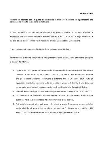 Ottobre 2003 Firmato il decreto con il quale si stabilisce il ... - Fipe