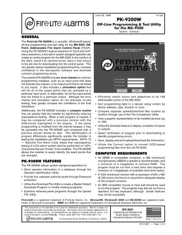 PK-5210UD Data Sheet - Fire-Lite Alarms