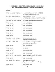 2010-2011 CONFIRMATION CLASS SCHEDULE