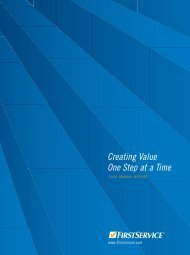 Creating Value One Step at a Time - FirstService Corporation