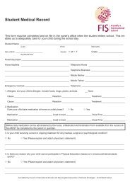 Student Medical Record - Frankfurt International School