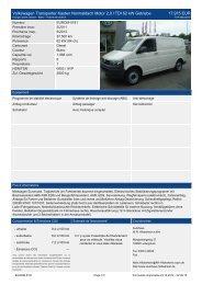 Volkswagen Transporter Kasten Normaldach Motor 2 l TDI 62 kw ...