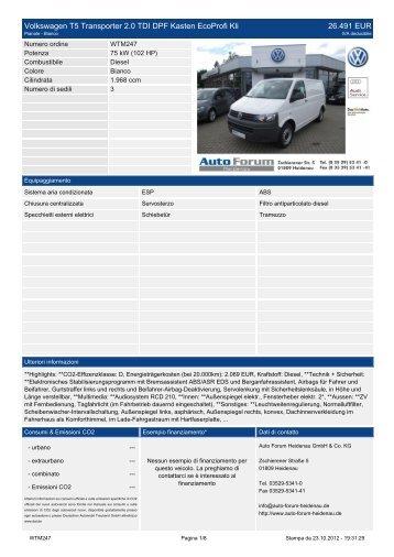 Volkswagen T5 Multivan 2.5 TDI DPF Highline Navi Tiptronic 38.990 EUR - auto-forum-heidenau.de