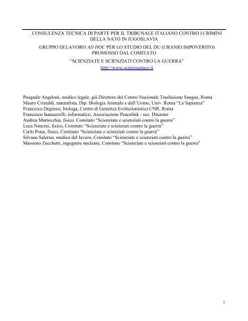 consulenza tecnica di parte per il tribunale italiano contro i crimini ...