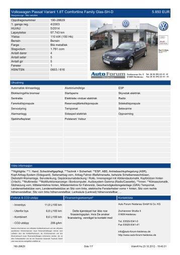 Volkswagen Passat Variant 1.4 TSI BMT ... - auto-forum-heidenau.de