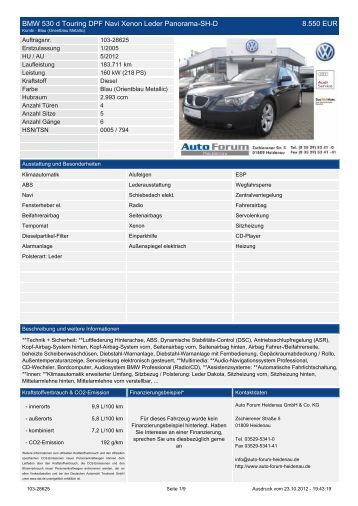 BMW 530 d Touring DPF Navi Xenon Leder Panorama-Sh-D 9.450 ...