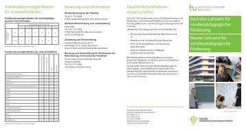 Flyer BA/MA Lehramt für sonderpädagogische Förderung - Fakultät ...