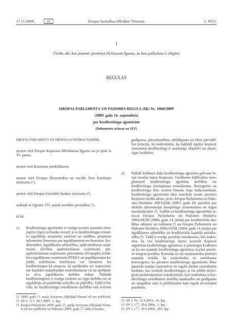 Eiropas Parlamenta un Padomes Regula (EK) Nr. 1060 ... - EUR-Lex