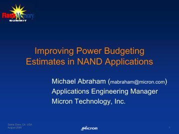 Improving Power Budgeting Estimates in NAND Applications
