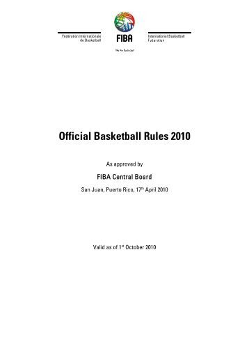 Official Basketball Rules 2010