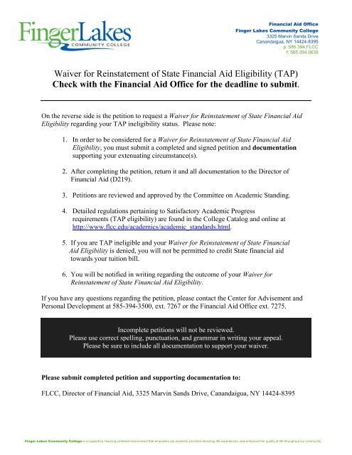 Waiver for Reinstatement of State Financial Aid Eligibility