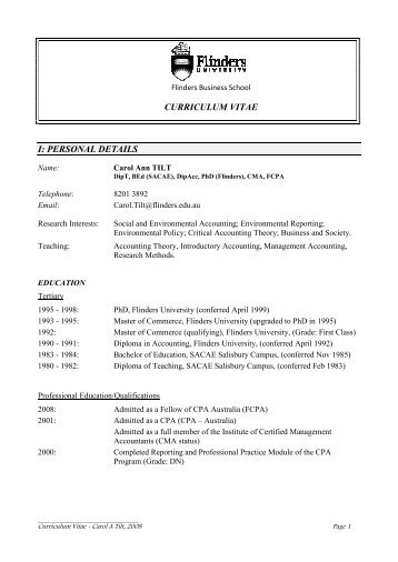 CURRICULUM VITAE I: PERSO AL DETAILS - Flinders University