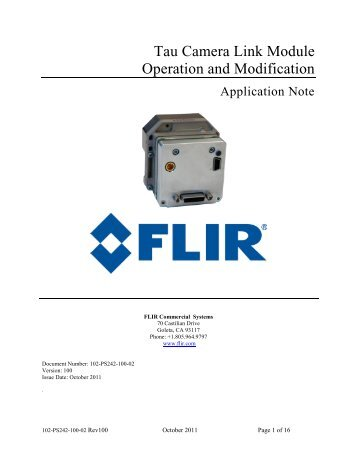 Tau Camera Link Module Operation and Modification - Flir Systems
