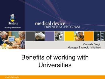 Benefits of working with Universities - Flinders University