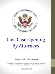 Civil Case Openings By Attorneys - the Northern District of Florida