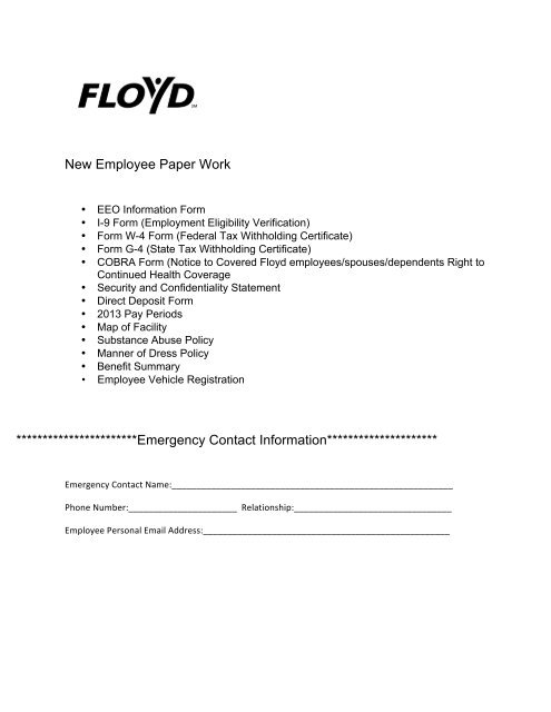 Employment Forms Packet - Floyd Medical Center