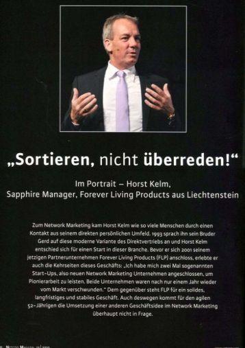 Horst Kelm, Sapphire Manager