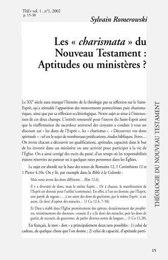Les « charismata » du Nouveau Testament : Aptitudes ou ministères ?