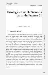 Martin Luther Théologie et vie chrétienne à partir du Psaume 51