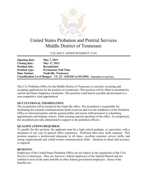 United States Probation and Pretrial Services Middle District of