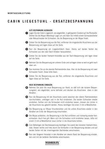 CABIN LIEGESTUHL - ERSATZBESPANNUNG - Weishäupl
