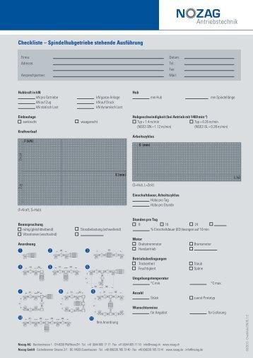 Checkliste – Spindelhubgetriebe stehende Ausführung - Nozag AG