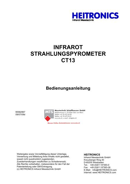 Manual CT13 Serie [PDF, 1.00 MB] - MTS Messtechnik ...