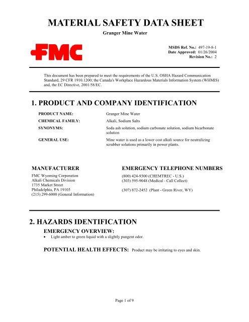 Granger Mine Water - FMC Corporation