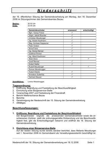 16. Niederschrift - 18 12 2006.pdf - Bezau