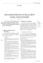 ABGABENSPARENDE MODELLE BEIM GMBH-ANTEILSERWERB