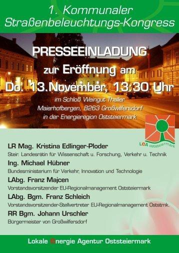 PRESSEEINLADUNG zur Eröffnung am Do. 13.November, 13:30 ...