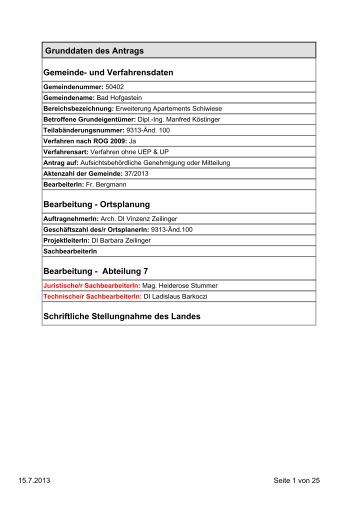 Grunddaten des Antrags Gemeinde- und ... - Dorfgastein