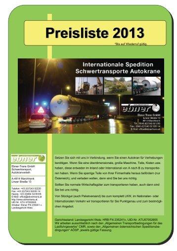Preisliste 2013 - Ebner Schwertransport und Autokranverleih GmbH