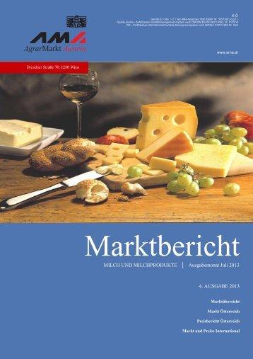 Marktbericht Milch und Milchprodukte - 4. Ausgabe 2013