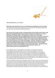 PRESSEINFORMATION, 19. Mai 2010 SERI-Studie zeigt: Klimaziele ...