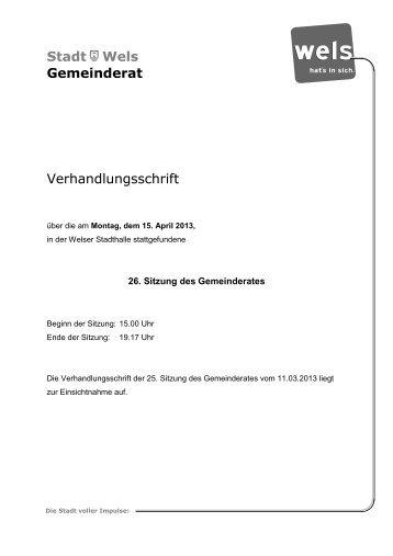 26. Gemeinderatssitzung - Stadt Wels