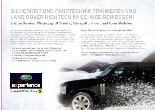 Die Land Rover Winter Driving Center - Auto Stahl