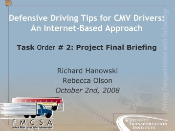 Defensive Driving Tips for CMV Drivers - Federal Motor Carrier ...