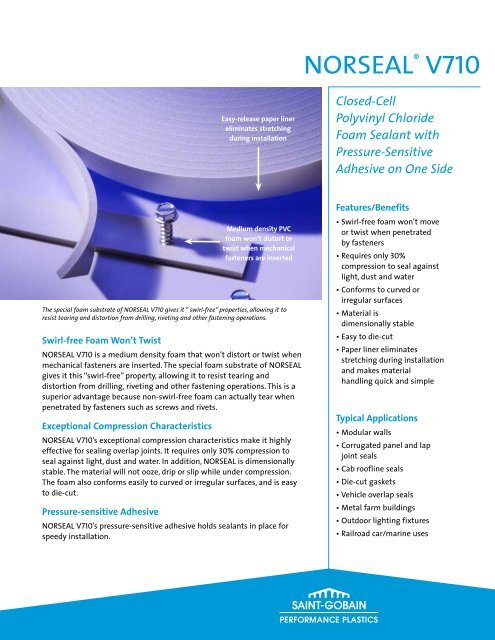 Norseal® V710 - Saint-Gobain Performance Plastics Foams