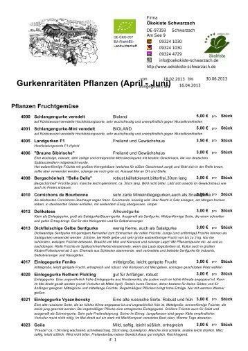 Gurkensorten als PDF downloaden - Ökokiste Schwarzach