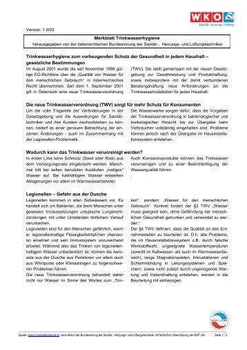 Merkblatt Trinkwasserhygiene Trinkwasserhygiene zum ...